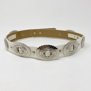 Concho Western Waist Belt S White Faux Leather